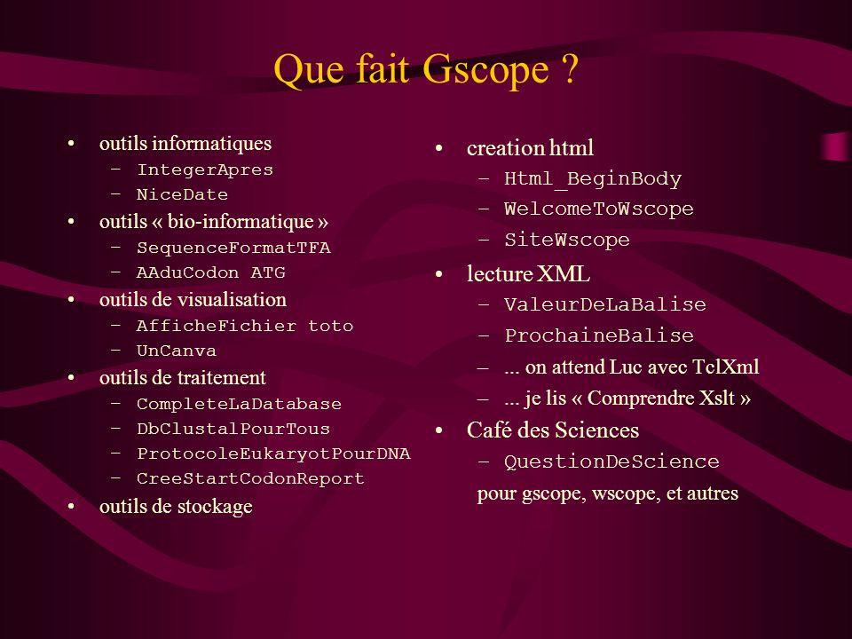 Que fait Gscope ? outils informatiques –IntegerApres –NiceDate outils « bio-informatique » –SequenceFormatTFA –AAduCodon ATG outils de visualisation –