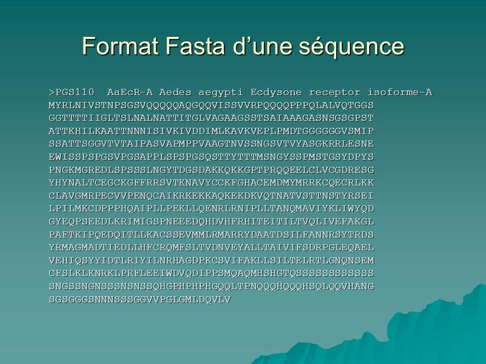 Format Fasta dune séquence >PGS110 AaEcR-A Aedes aegypti Ecdysone receptor isoforme-A MYRLNIVSTNPSGSVQQQQQAQGQQVISSVVRPQQQQPPPQLALVQTGGSGGTTTTIIGLTSLNALNATTITGLVAGAAGSSTSAIAAAGASNSGSGPSTATTKHILKAATTNNNISIVKIVDDIMLKAVKVEPLPMDTGGGGGGVSMIPSSATTSGGVTVTAIPASVAPMPPVAAGTNVSSNGSVTVYASGKRRLESNEEWISSPSPGSVPGSAPPLSPSPGSQSTTYTTTMSNGYSSPMSTGSYDPYSPNGKMGREDLSPSSSLNGYTDGSDAKKQKKGPTPRQQEELCLVCGDRESGYHYNALTCEGCKGFFRRSVTKNAVYCCKFGHACEMDMYMRRKCQECRLKKCLAVGMRPECVVPENQCAIKRKEKKAQKEKDKVQTNATVSTTNSTYRSEILPILMKCDPPPHQAIPLLPEKLLQENRLRNIPLLTANQMAVIYKLIWYQDGYEQPSEEDLKRIMIGSPNEEEDQHDVHFRHITEITILTVQLIVEFAKGLPAFTKIPQEDQITLLKACSSEVMMLRMARRYDAATDSILFANNRSYTRDSYRMAGMADTIEDLLHFCRQMFSLTVDNVEYALLTAIVIFSDRPGLEQAELVEHIQSYYIDTLRIYILNRHAGDPKCSVIFAKLLSILTELRTLGNQNSEMCFSLKLKNRKLPRFLEEIWDVQDIPPSMQAQMHSHGTQSSSSSSSSSSSSSNGSSNGNSSSNSNSSQHGPHPHPHGQQLTPNQQQHQQQHSQLQQVHANGSGSGGGSNNNSSSGGVVPGLGMLDQVLV