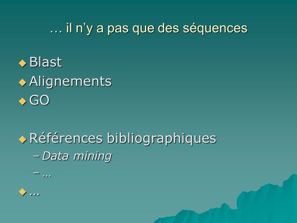 … il ny a pas que des séquences Blast Blast Alignements Alignements GO GO Références bibliographiques Références bibliographiques –Data mining –…–…–…–… …