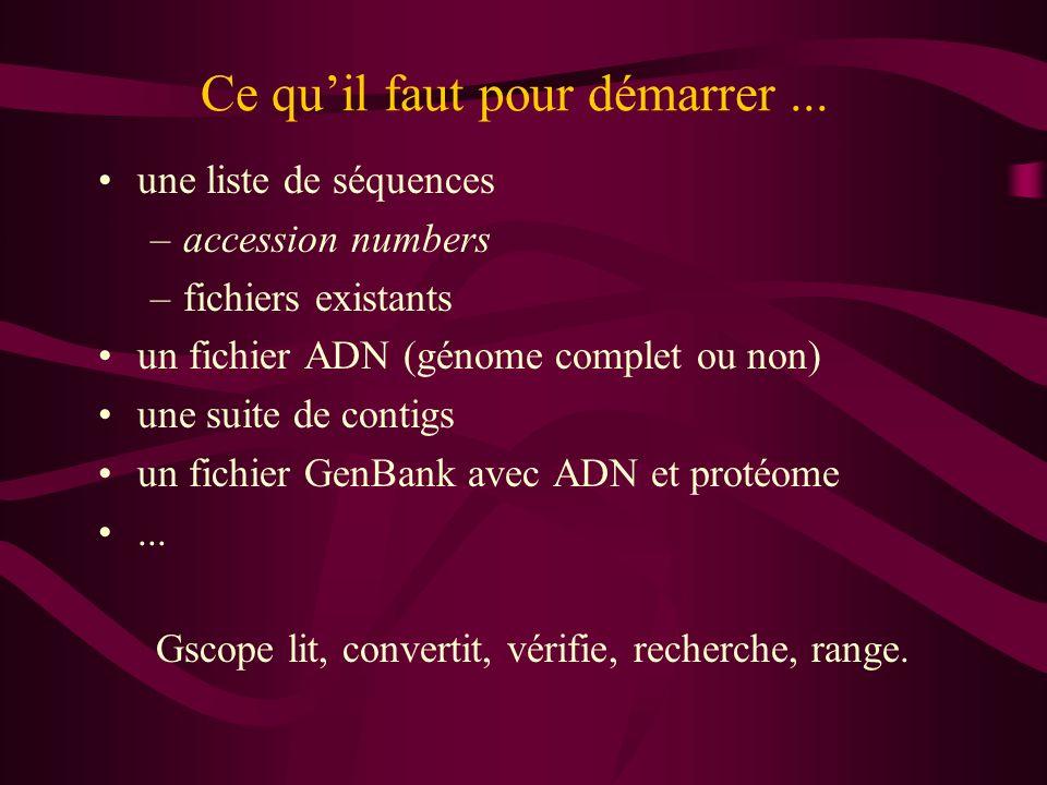 Ce quil faut pour démarrer... une liste de séquences –accession numbers –fichiers existants un fichier ADN (génome complet ou non) une suite de contig