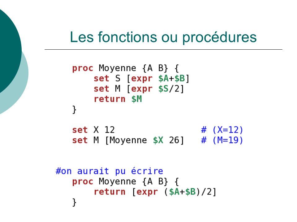Les fonctions ou procédures