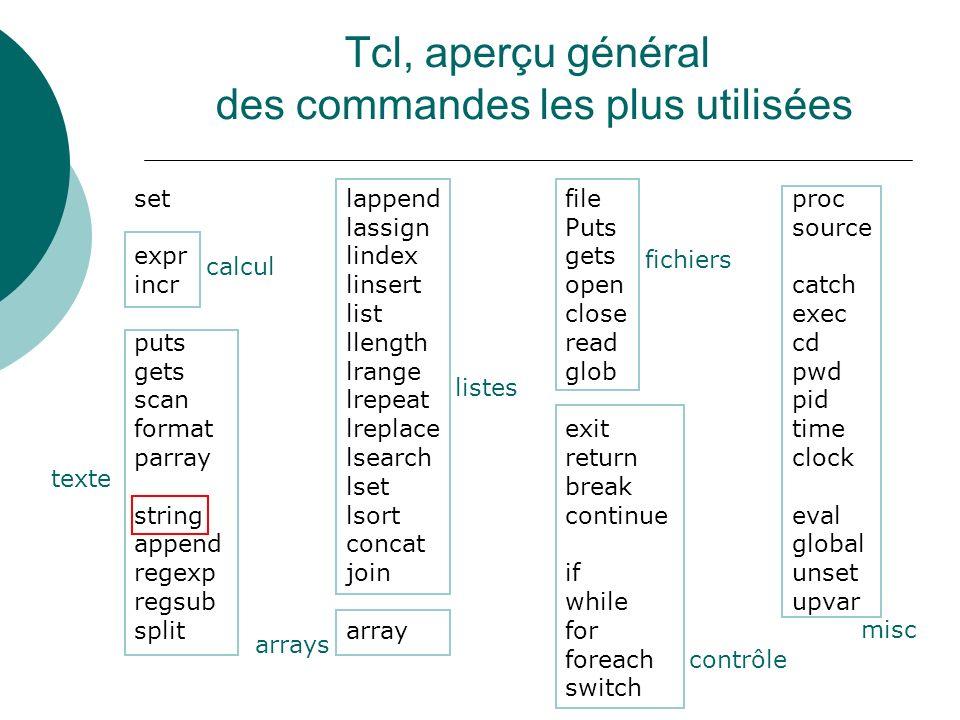 Tcl, aperçu général des commandes les plus utilisées set expr incr puts gets scan format parray string append regexp regsub split lappend lassign lind