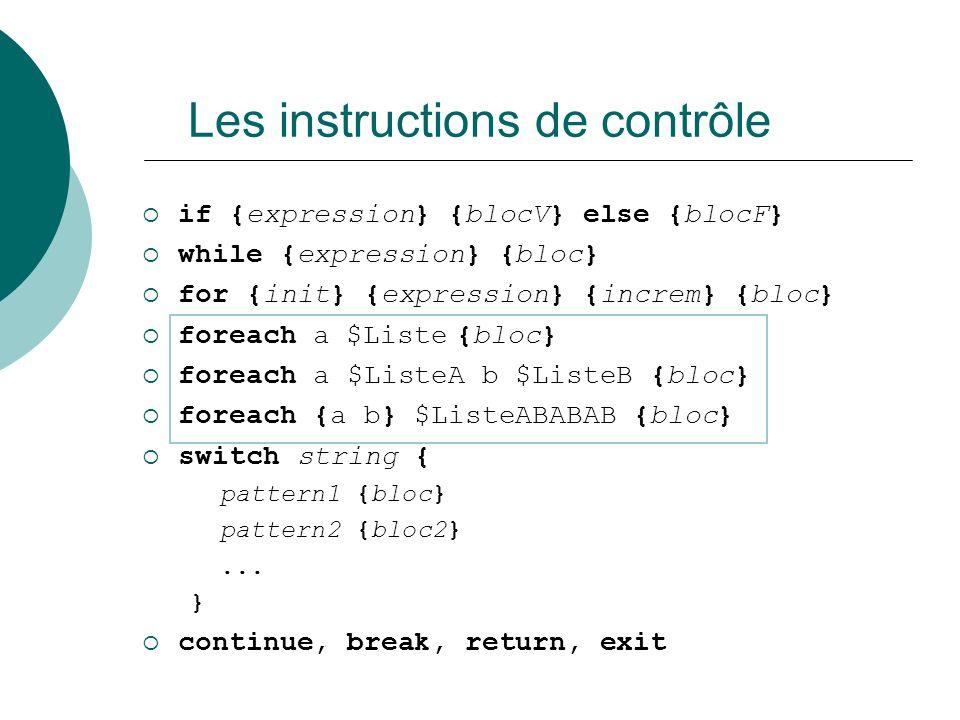 Les instructions de contrôle if {expression} {blocV} else {blocF} while {expression} {bloc} for {init} {expression} {increm} {bloc} foreach a $Liste {