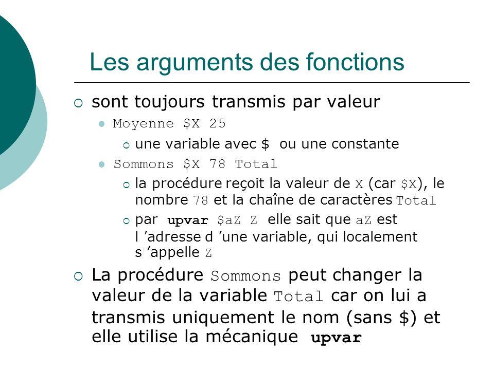Les arguments des fonctions sont toujours transmis par valeur Moyenne $X 25 une variable avec $ ou une constante Sommons $X 78 Total la procédure reço
