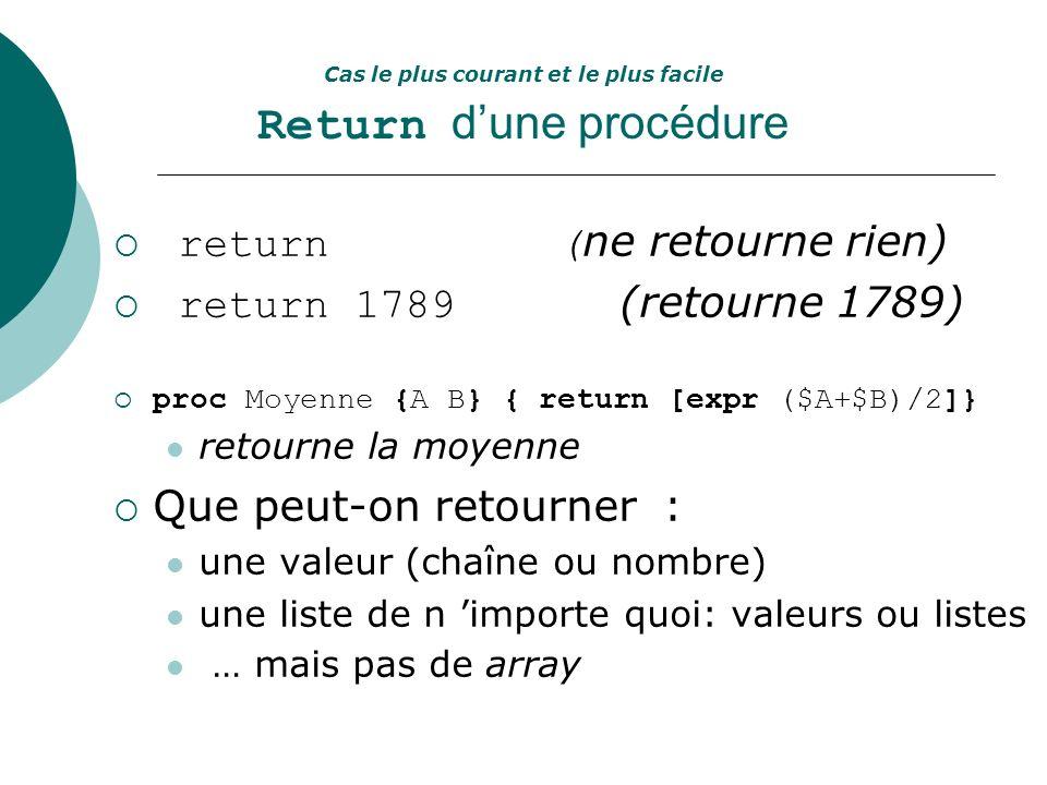 Cas le plus courant et le plus facile Return dune procédure return ( ne retourne rien) return 1789 (retourne 1789) proc Moyenne {A B} { return [expr (