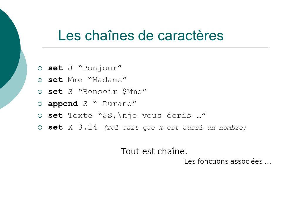 Les chaînes de caractères set J Bonjour set Mme Madame set S Bonsoir $Mme append S Durand set Texte $S,\nje vous écris … set X 3.14 (Tcl sait que X es