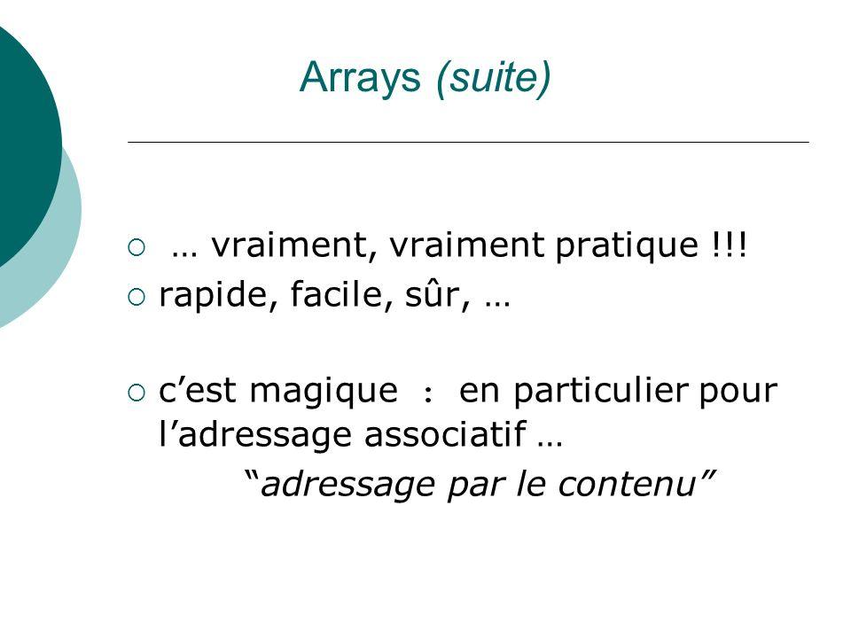 Arrays (suite) … vraiment, vraiment pratique !!! rapide, facile, sûr, … cest magique : en particulier pour ladressage associatif … adressage par le co