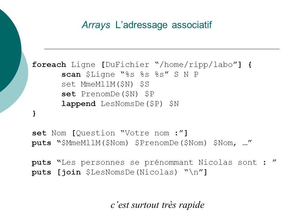 Arrays Ladressage associatif foreach Ligne [DuFichier /home/ripp/labo] { scan $Ligne %s %s %s S N P set MmeMllM($N) $S set PrenomDe($N) $P lappend Les