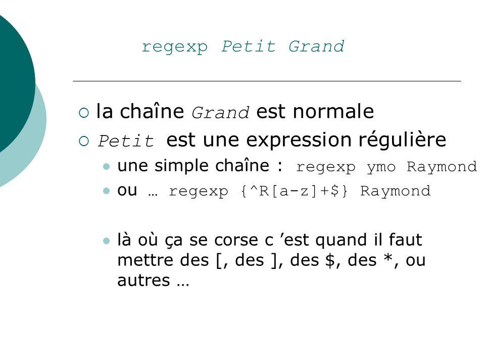 regexp Petit Grand la chaîne Grand est normale Petit est une expression régulière une simple chaîne : regexp ymo Raymond ou … regexp {^R[a-z]+$} Raymo