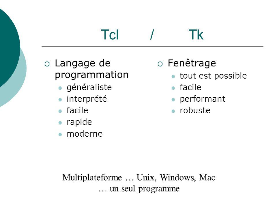 Tcl / Tk Langage de programmation généraliste interprété facile rapide moderne Fenêtrage tout est possible facile performant robuste Multiplateforme …