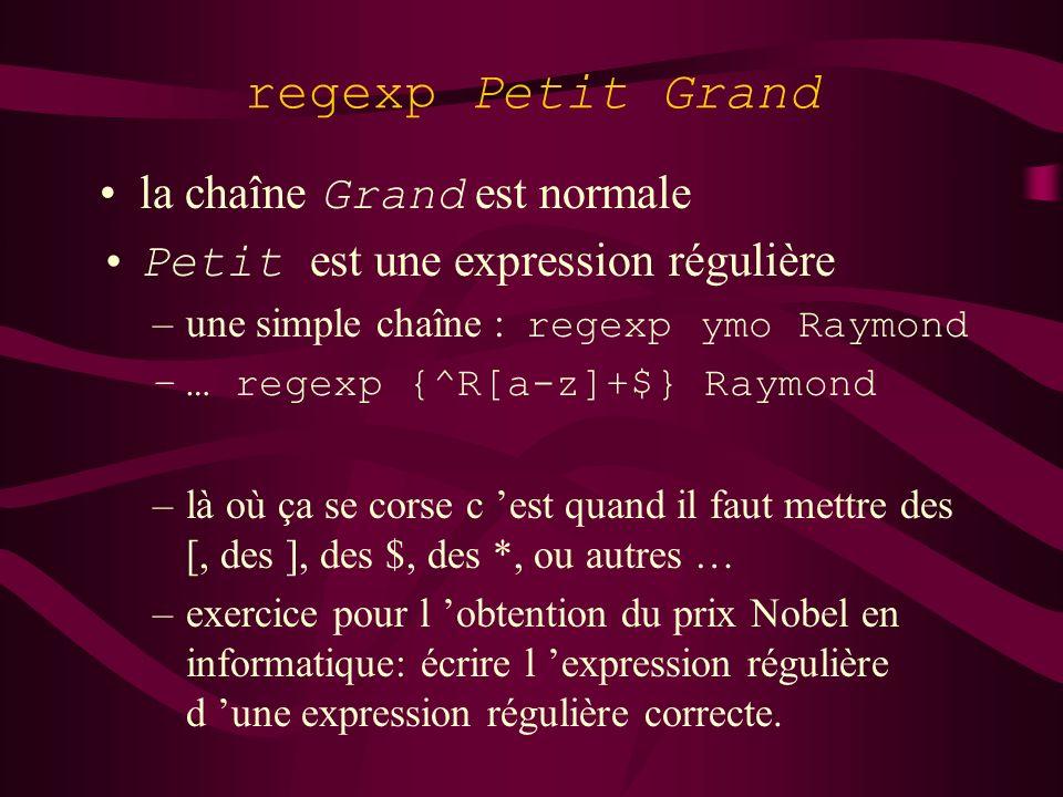 regexp Petit Grand la chaîne Grand est normale Petit est une expression régulière –une simple chaîne : regexp ymo Raymond –… regexp {^R[a-z]+$} Raymon