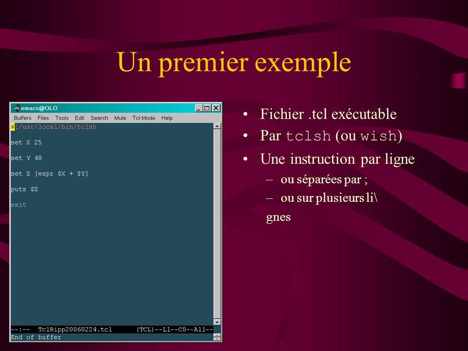 Un premier exemple Fichier.tcl exécutable Par tclsh (ou wish ) Une instruction par ligne –ou séparées par ; –ou sur plusieurs li\ gnes