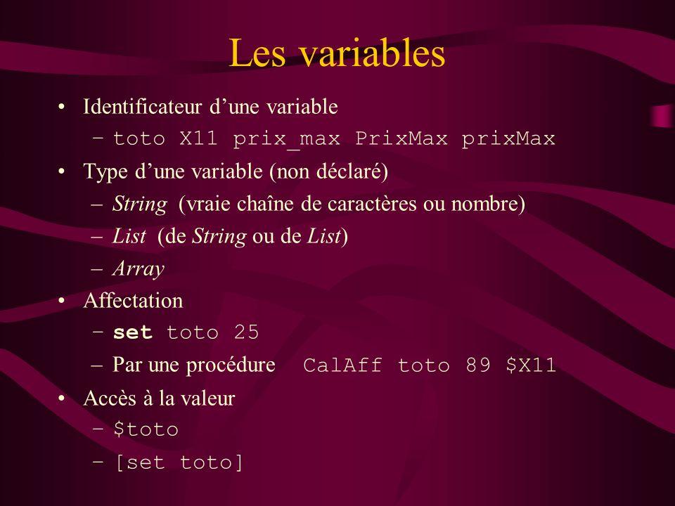 Les variables Identificateur dune variable –toto X11 prix_max PrixMax prixMax Type dune variable (non déclaré) –String (vraie chaîne de caractères ou