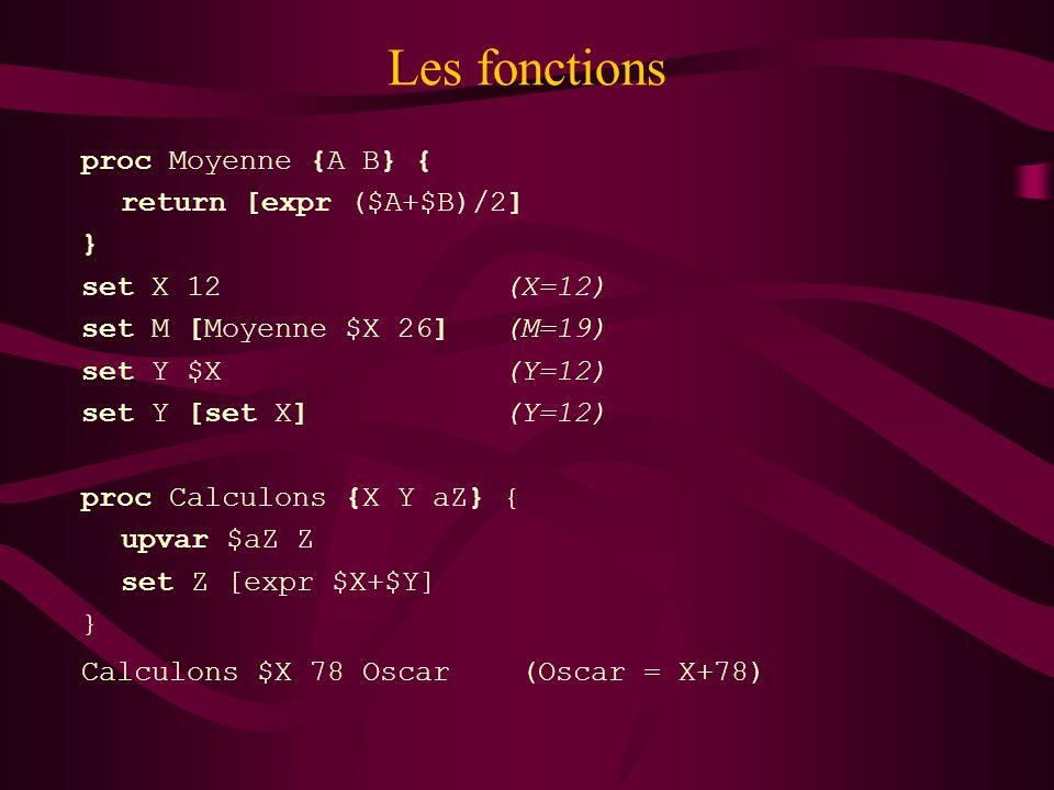 Les fonctions proc Moyenne {A B} { return [expr ($A+$B)/2] } set X 12 (X=12) set M [Moyenne $X 26] (M=19) set Y $X (Y=12) set Y [set X] (Y=12) proc Ca