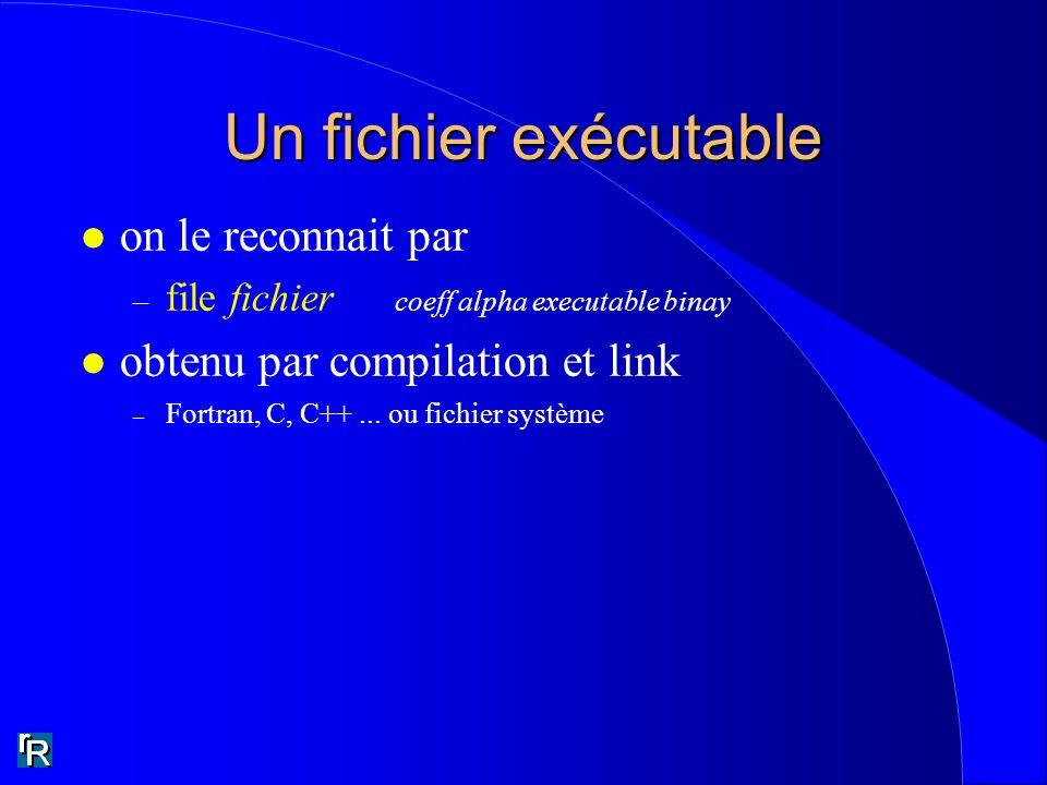 Un fichier exécutable l on le reconnait par – file fichier coeff alpha executable binay l obtenu par compilation et link – Fortran, C, C++...