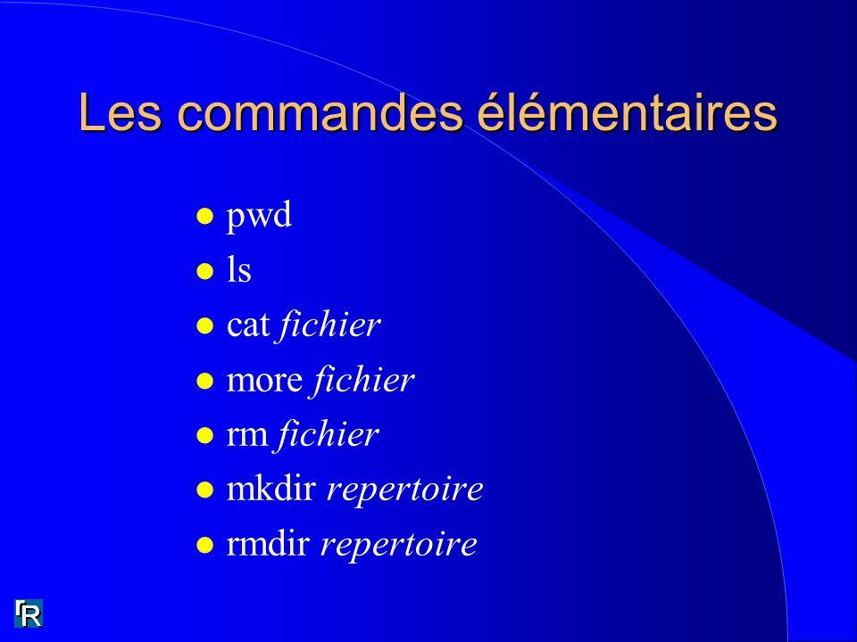 Les commandes élémentaires l pwd l ls l cat fichier l more fichier l rm fichier l mkdir repertoire l rmdir repertoire