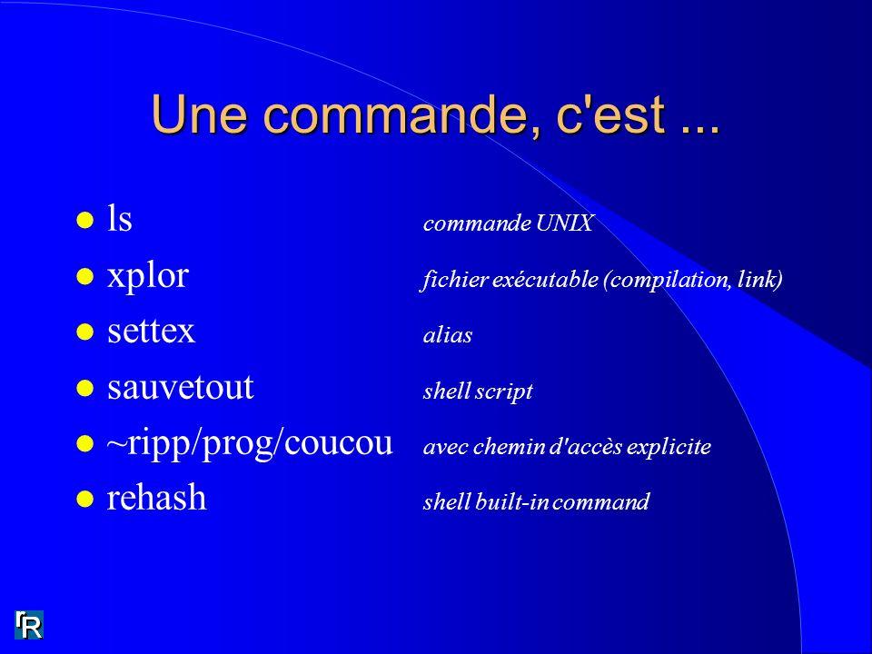 Une commande, c'est... l ls commande UNIX l xplor fichier exécutable (compilation, link) l settex alias l sauvetout shell script l ~ripp/prog/coucou a