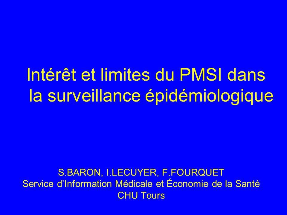 S.BARON, I.LECUYER, F.FOURQUET Service dInformation Médicale et Économie de la Santé CHU Tours Intérêt et limites du PMSI dans la surveillance épidémi