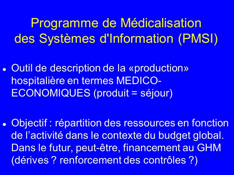 Programme de Médicalisation des Systèmes d'Information (PMSI) l Outil de description de la «production» hospitalière en termes MEDICO- ECONOMIQUES (pr