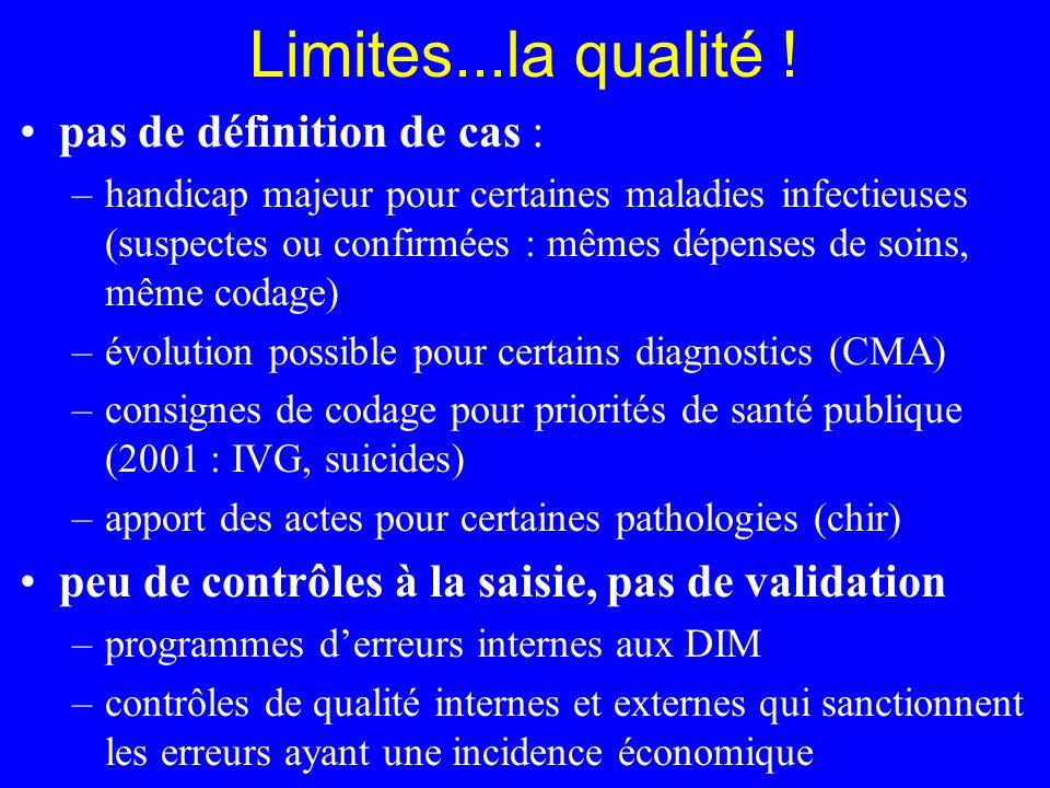 Limites...la qualité ! pas de définition de cas : –handicap majeur pour certaines maladies infectieuses (suspectes ou confirmées : mêmes dépenses de s