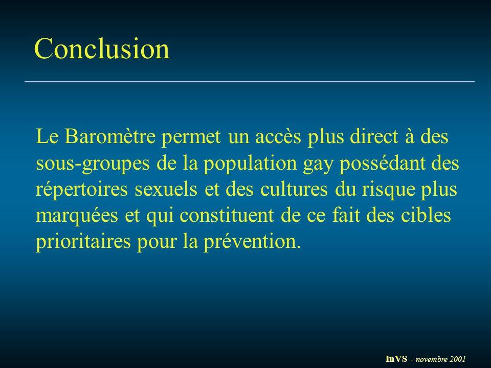 Conclusion Le Baromètre permet un accès plus direct à des sous-groupes de la population gay possédant des répertoires sexuels et des cultures du risqu