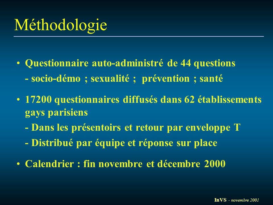 Méthodologie Questionnaire auto-administré de 44 questions - socio-démo ; sexualité ; prévention ; santé 17200 questionnaires diffusés dans 62 établis