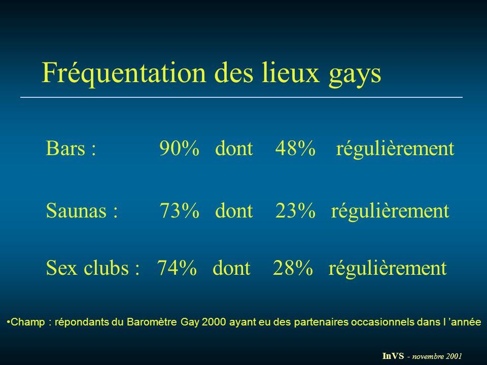 Fréquentation des lieux gays Bars : 90% dont 48% régulièrement Saunas : 73% dont 23% régulièrement Sex clubs : 74% dont 28% régulièrement Champ : répo