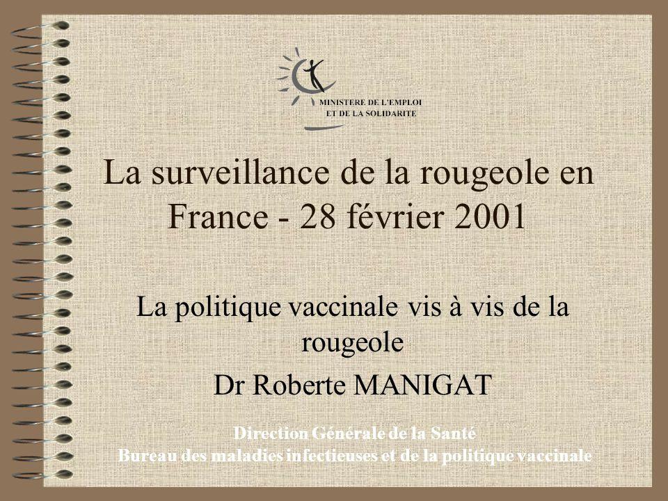 Direction Générale de la Santé Bureau des maladies infectieuses et de la politique vaccinale La surveillance de la rougeole en France - 28 février 2001 La politique vaccinale vis à vis de la rougeole Dr Roberte MANIGAT