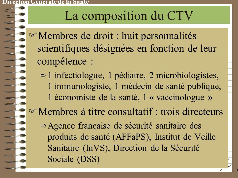 Direction Générale de la Santé Les missions du CTV S uivre les évolutions et les perspectives en matière de vaccins É laborer la stratégie vaccinale e