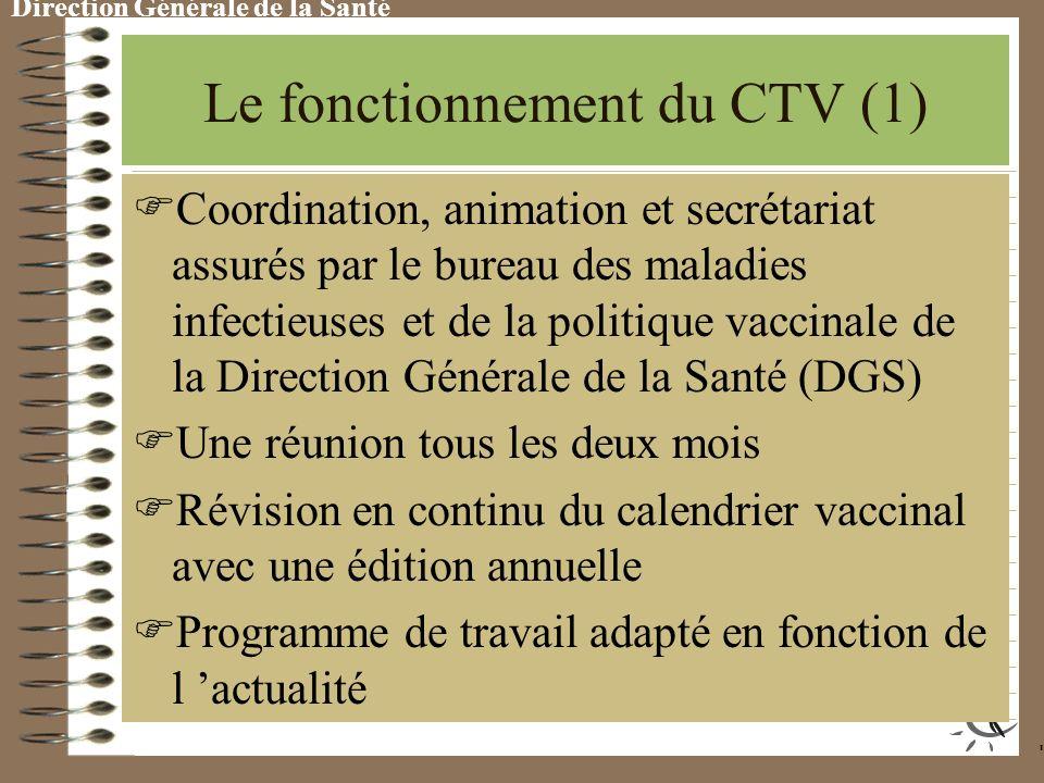 Le fonctionnement du CTV (1) C oordination, animation et secrétariat assurés par le bureau des maladies infectieuses et de la politique vaccinale de la Direction Générale de la Santé (DGS) U ne réunion tous les deux mois R évision en continu du calendrier vaccinal avec une édition annuelle P rogramme de travail adapté en fonction de l actualité