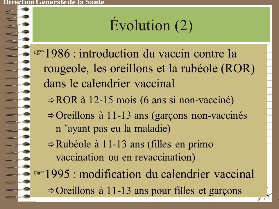 Évolution (2) 1 986 : introduction du vaccin contre la rougeole, les oreillons et la rubéole (ROR) dans le calendrier vaccinal ROR à 12-15 mois (6 ans si non-vacciné) Oreillons à 11-13 ans (garçons non-vaccinés n ayant pas eu la maladie) Rubéole à 11-13 ans (filles en primo vaccination ou en revaccination) 1 995 : modification du calendrier vaccinal Oreillons à 11-13 ans pour filles et garçons
