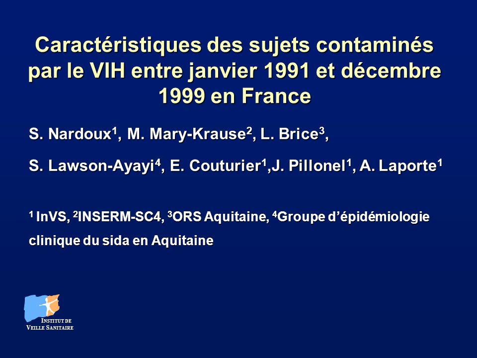 Caractéristiques des sujets contaminés par le VIH entre janvier 1991 et décembre 1999 en France S. Nardoux 1, M. Mary-Krause 2, L. Brice 3, S. Lawson-