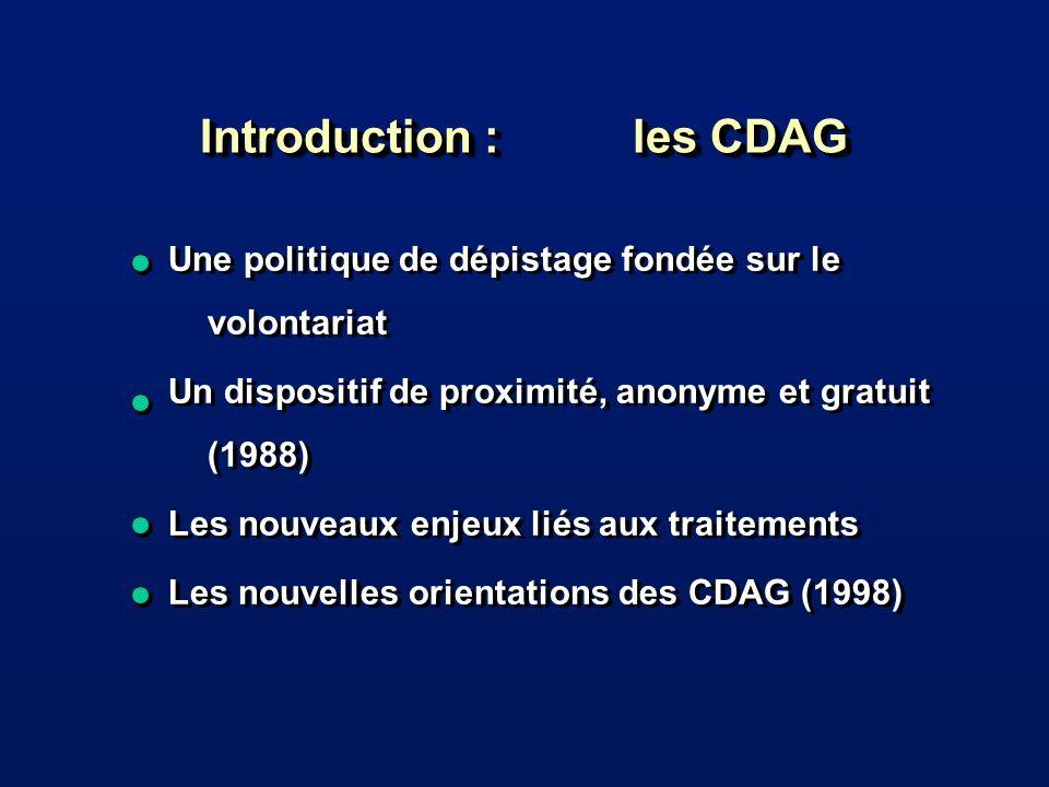 Introduction : les CDAG Une politique de dépistage fondée sur le volontariat Un dispositif de proximité, anonyme et gratuit (1988) Les nouveaux enjeux liés aux traitements Les nouvelles orientations des CDAG (1998) Une politique de dépistage fondée sur le volontariat Un dispositif de proximité, anonyme et gratuit (1988) Les nouveaux enjeux liés aux traitements Les nouvelles orientations des CDAG (1998)