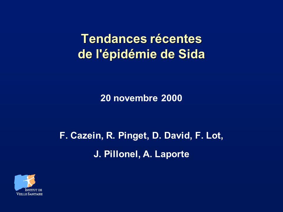 Tendances récentes de l épidémie de Sida 20 novembre 2000 F.