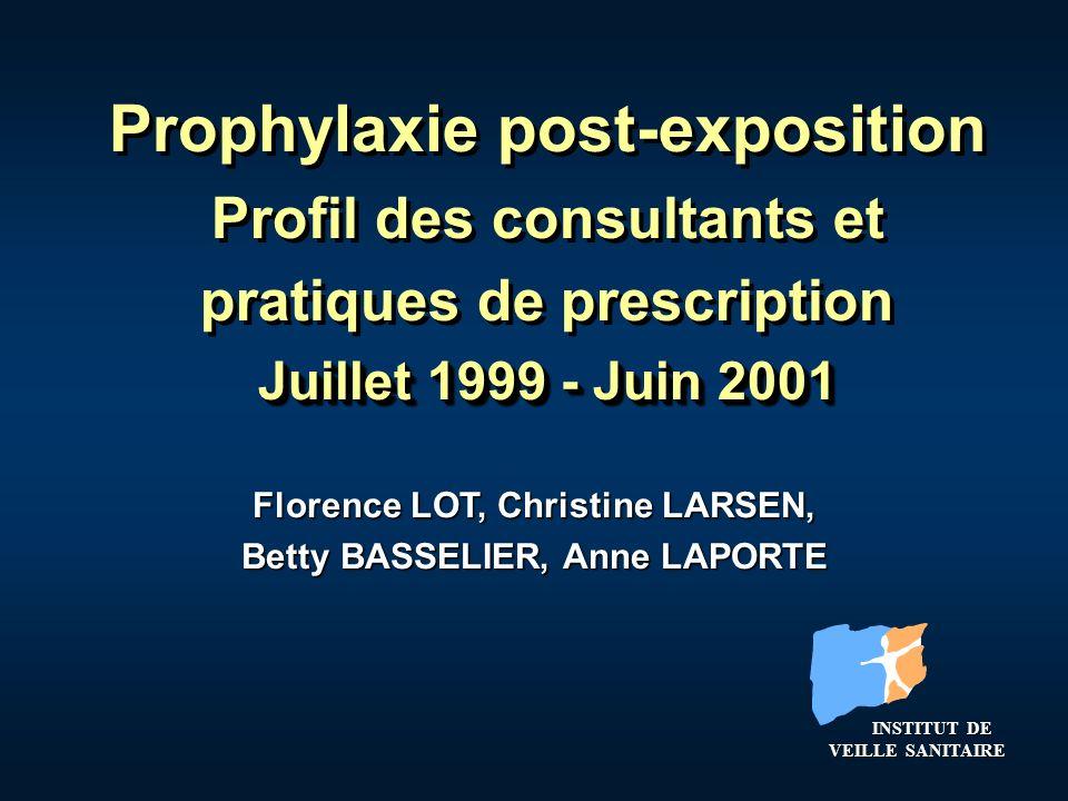 Florence LOT, Christine LARSEN, Betty BASSELIER, Anne LAPORTE Juillet 1999 - Juin 2001 Prophylaxie post-exposition Profil des consultants et pratiques
