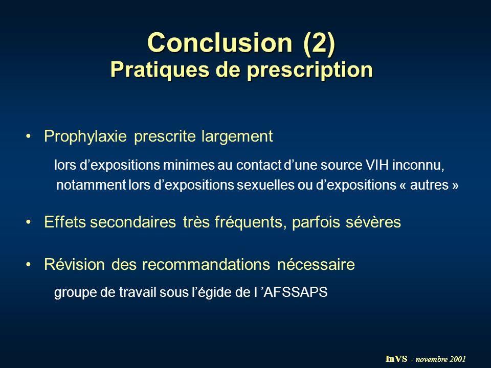 Conclusion (2) Pratiques de prescription Prophylaxie prescrite largement lors dexpositions minimes au contact dune source VIH inconnu, notamment lors