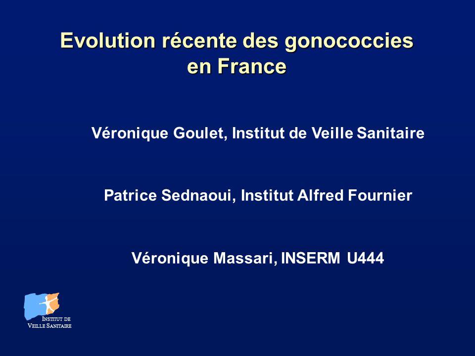 Les gonococcies en France Sources dinformations existantes Directes : l Réseau de laboratoires (RENAGO) l Données des Consultations MST dépendant des Conseils Généraux (DAV) Indirectes : l Réseau de Médecins Généralistes : urétrites (SENTINELLES)