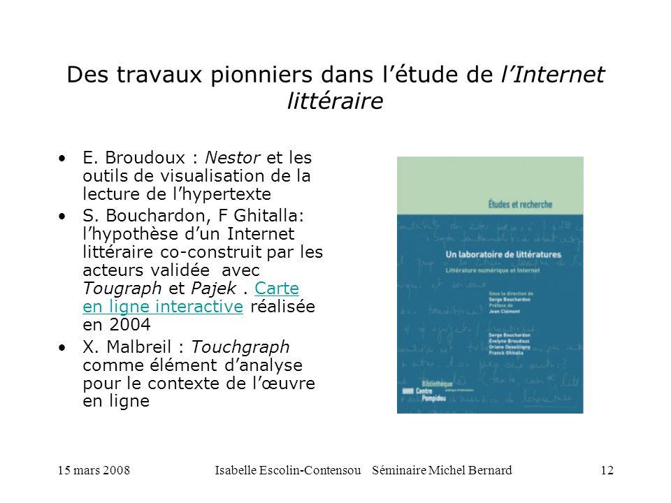 15 mars 2008Isabelle Escolin-Contensou Séminaire Michel Bernard12 Des travaux pionniers dans létude de lInternet littéraire E. Broudoux : Nestor et le
