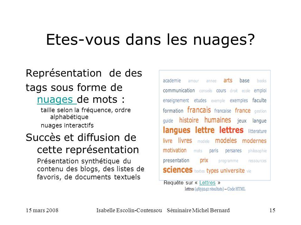 15 mars 2008Isabelle Escolin-Contensou Séminaire Michel Bernard15 Etes-vous dans les nuages? Représentation de des tags sous forme de nuages de mots :