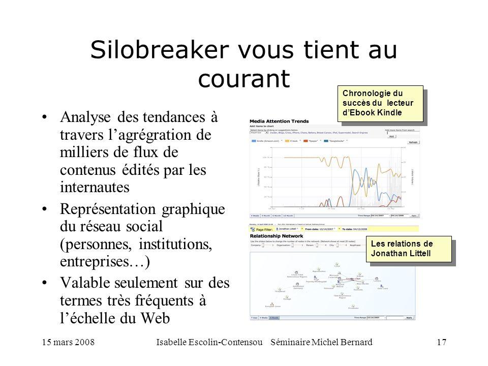 15 mars 2008Isabelle Escolin-Contensou Séminaire Michel Bernard17 Silobreaker vous tient au courant Analyse des tendances à travers lagrégration de mi
