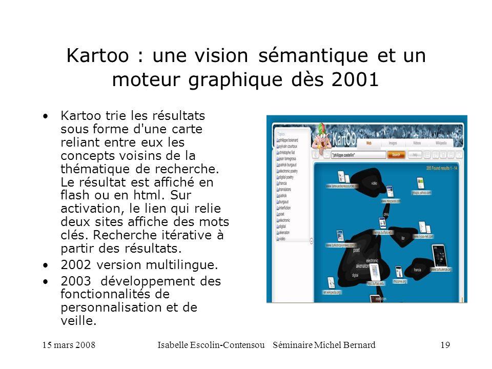 15 mars 2008Isabelle Escolin-Contensou Séminaire Michel Bernard19 Kartoo : une vision sémantique et un moteur graphique dès 2001 Kartoo trie les résul