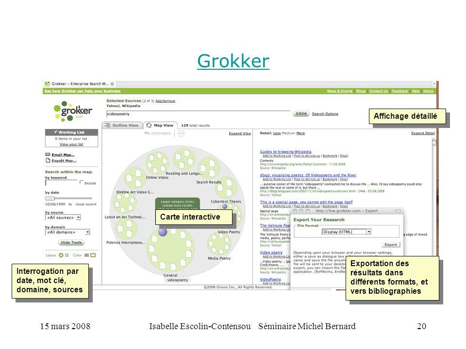 15 mars 2008Isabelle Escolin-Contensou Séminaire Michel Bernard20 Grokker Carte interactive Interrogation par date, mot clé, domaine, sources Exportat