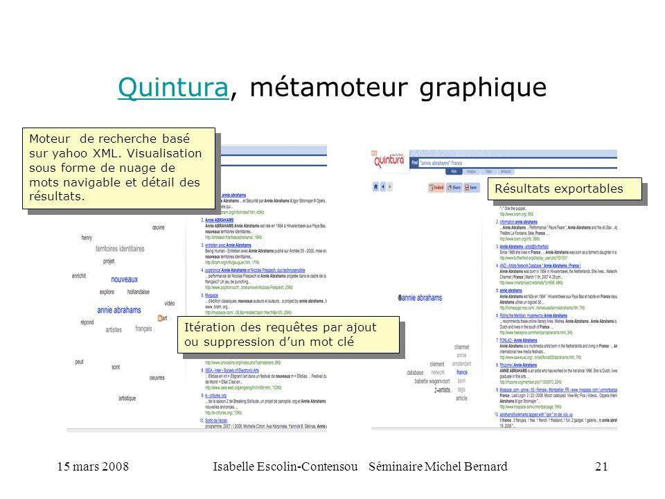 15 mars 2008Isabelle Escolin-Contensou Séminaire Michel Bernard21 QuinturaQuintura, métamoteur graphique Moteur de recherche basé sur yahoo XML. Visua