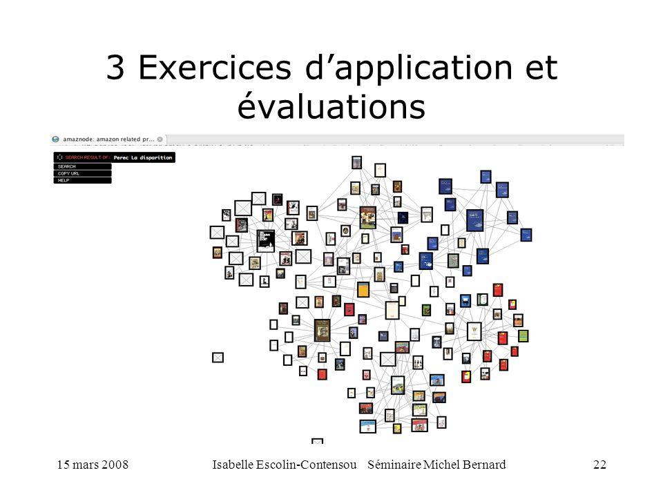 15 mars 2008Isabelle Escolin-Contensou Séminaire Michel Bernard22 3 Exercices dapplication et évaluations