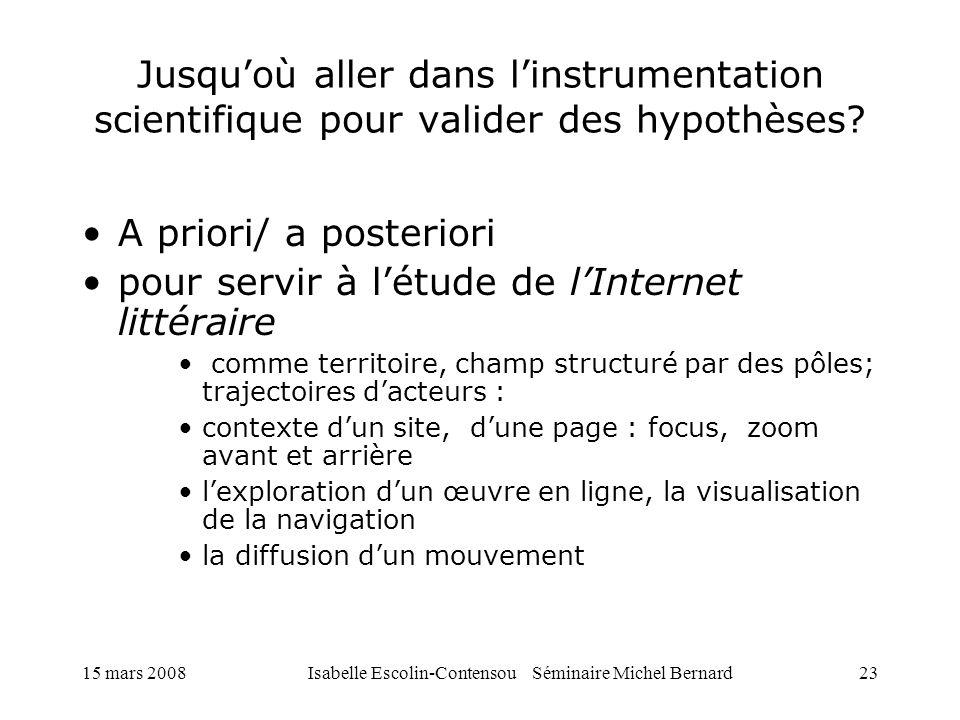 15 mars 2008Isabelle Escolin-Contensou Séminaire Michel Bernard23 Jusquoù aller dans linstrumentation scientifique pour valider des hypothèses? A prio