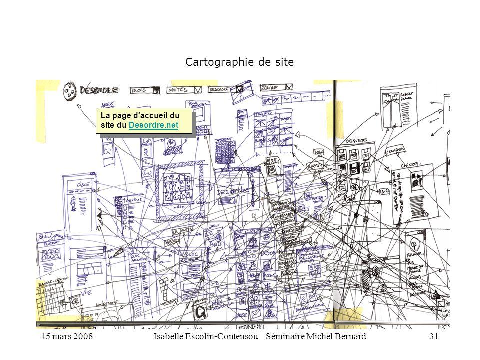15 mars 2008Isabelle Escolin-Contensou Séminaire Michel Bernard31 Cartographie de site La page daccueil du site du Desordre.netDesordre.net La page da