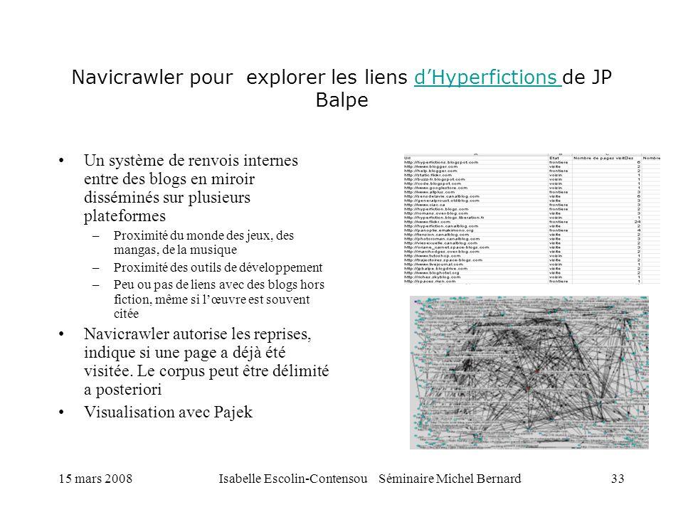 15 mars 2008Isabelle Escolin-Contensou Séminaire Michel Bernard33 Navicrawler pour explorer les liens dHyperfictions de JP BalpedHyperfictions Un syst