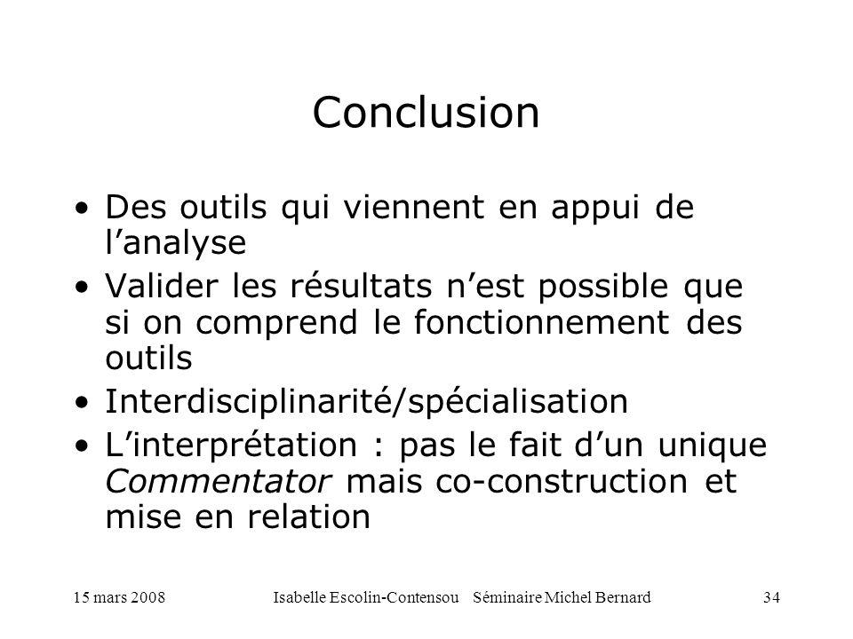 15 mars 2008Isabelle Escolin-Contensou Séminaire Michel Bernard34 Conclusion Des outils qui viennent en appui de lanalyse Valider les résultats nest p