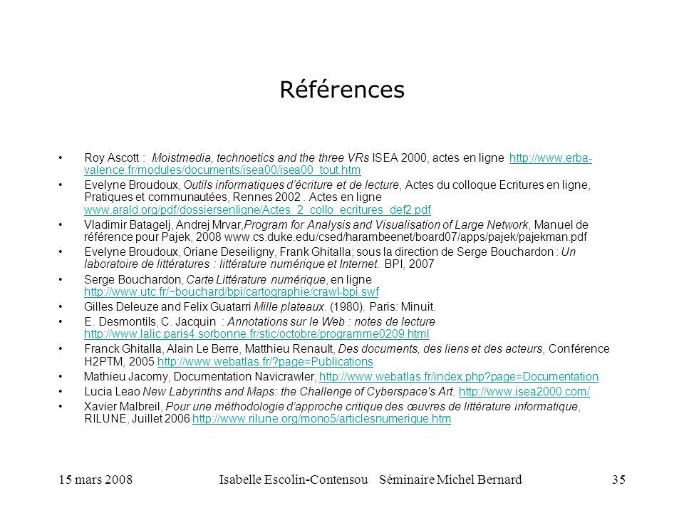 15 mars 2008Isabelle Escolin-Contensou Séminaire Michel Bernard35 Références Roy Ascott : Moistmedia, technoetics and the three VRs ISEA 2000, actes e