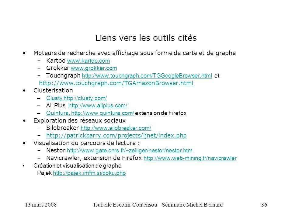 15 mars 2008Isabelle Escolin-Contensou Séminaire Michel Bernard36 Liens vers les outils cités Moteurs de recherche avec affichage sous forme de carte
